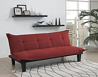 Dorel Home Products DHP Lodge Convertible Futon Couch Bed with Microfiber Upholstery and Wood Legs, Red
