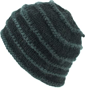 Loud Elephant Chunky Ribbed Wool Knit Beanie Hat with Space Dye Design - Black