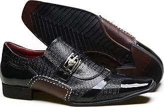Calvest Sapato Social em Couro com Textura Chicago e Metal Dourado Calvest - 3260C981 Preto - 40