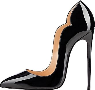 EDEFS Womens High Heels Court Shoes Cut Out Stiletto Pumps Sexy Pointed Toe Dress Shoes Black EU44