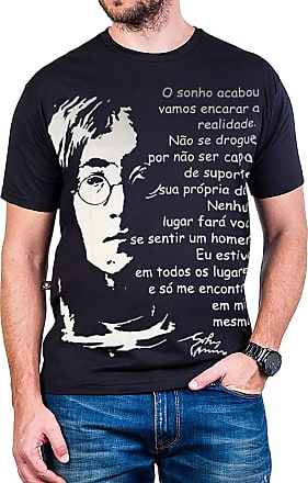 Bandalheira Camiseta John Lennon Caricatura Escrita Gola Redonda