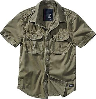 Brandit Vintage Short Sleeve Men Short-Sleeved Shirt Olive S, 100% Cotton, Regular