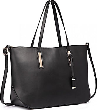 Quirk Leather Look Large Shoulder Tote Bag - Black