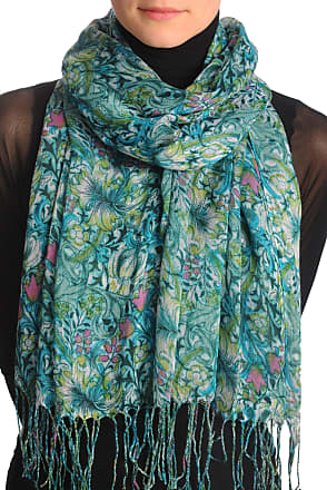 Liss Kiss Green & Blue Lilly Flowers With Tassels - Blue Floral Scarf