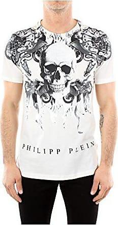 37a0fddb9e3a Philipp Plein T-Shirt Philipp Plein Herren Baumwolle Weiß und Schwarz  HM345313WHITE Weiß XL