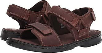 b6c9289aac9 Clarks Mens Malone Shore Sandal Dark Brown Tumbled Leather 090 M US