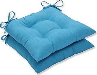 Pillow Perfect Outdoor Veranda Turquoise Wrought Iron Seat Cushion, Set of 2