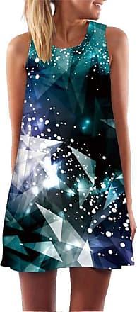 Ocean Plus Womens Sleeveless Vintage Boho Beach Dress Sundress Tank Tops Beach Dress Round Neck Short A Line Shirt Dress Blouse Dress (XXL (UK 14-16), Colorful G