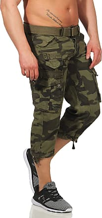 Geographical Norway Mens 3/4 Cargo Trousers Panoramic Bermuda with Belt, Large Side Pockets - Green - M