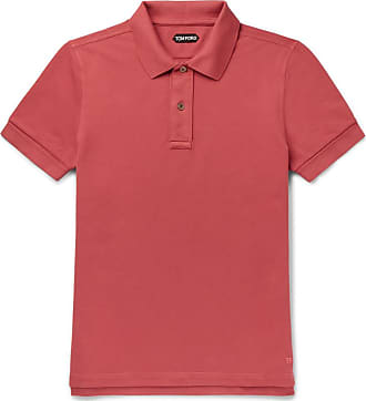 Tom Ford Slim-fit Garment-dyed Cotton-piqué Polo Shirt - Coral