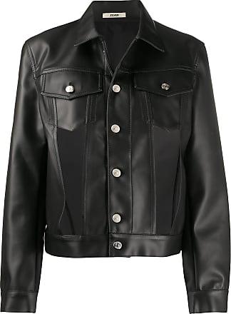 Zilver cut-out faux leather jacket - Black