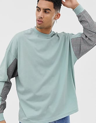 Asos T-shirt oversize a maniche lunghe con pannelli cut and sew in tessuto a 64d8f69a93a