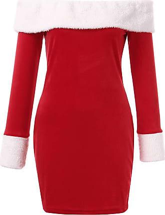 QUINTRA Christmas Women Off Shoulder Long Sleeve Mini Dresses Santa Claus Bodycon Dresse (16, Red)