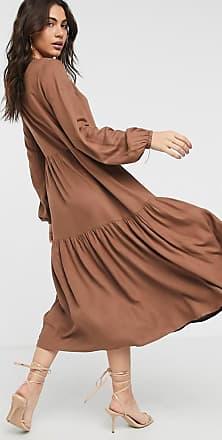 Vila tiered smock dress in brown