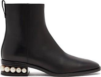 Nicholas Kirkwood Casati Pearl-heel Leather Ankle Boots - Womens - Black