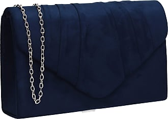 Clutch Bag Tassel Trim Navy Blue Evening Purse Faux Suede Travel Pouch Handbag