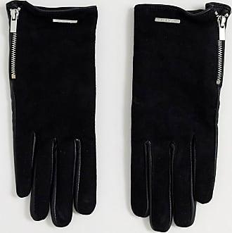 Aldo Croedda leather gloves with zip detail in black