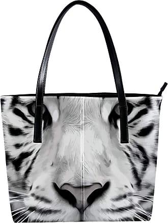 Nananma Womens Bag Shoulder Tote handbag with Grayscale White Dangerous Tiger Print Zipper Purse PU Leather Top-handle Zip Bags