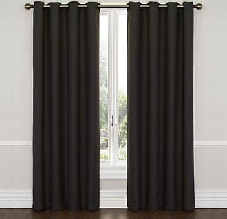 Eclipse Blackout Curtains for Bedroom - Wyndham 52 x 95 Insulated Darkening Single Panel Grommet Top Window Treatment Living Room, Jet Black