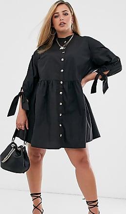 Asos Curve ASOS DESIGN Curve grandad collar button through mini smock dress with tie sleeve-Black