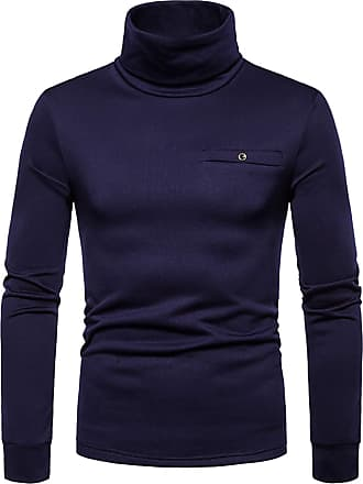 Whatlees Mens Basic Solid T Shirt Turtle Neck Long Sleeve Tops Pullover Jumper with Pocket Navy 02010290XNavy+M