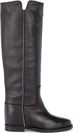 Via Roma 15 Boot in Black Leather with Round Studs