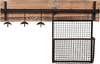 Southern Enterprises Entryway Wall Mount Storage Rack - 3 Hooks w/Basket - Distressed Wood w/Aged Wrought Iron