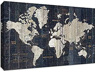 Tangletown Fine Art Old World Map Blue Gallery Wrap Canvas Indigo