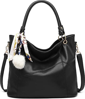 Quirk Leather Look Hobo Slouch Shoulder Bag - Black