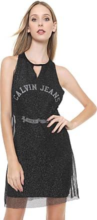 Calvin Klein Jeans Vestido Calvin Klein Jeans Curto Tela Metalizada Preto