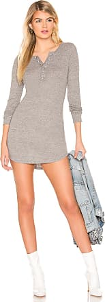 Chaser Long Sleeve Rib Henley Shirttail Dress in Gray