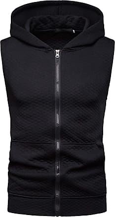 Whatlees Mens Casual Sleeveless Zip Up Tank Hoodie Shirt Pullover Vest Black 02010051XBlack+XXL