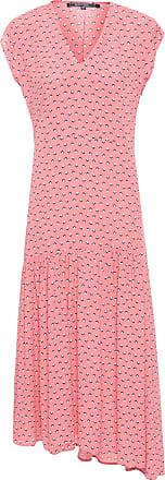 Shoulder Vestido Mídi Crepe Estampado - Rosa