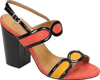 Anne Michelle Ladies High Chunky Heel Sandals - Orange Microfibre - UK Size 8 - EU Size 41 - US Size 10