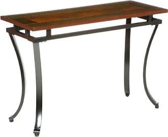 Southern Enterprises Modesto Sofa Console Table - Checkerboard Two Tone Wood Top - Black Metal Frame