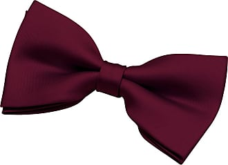 Retreez Mens Solid Plain Color Woven Microfiber Pre-tied Bow Tie (5) - Burgundy