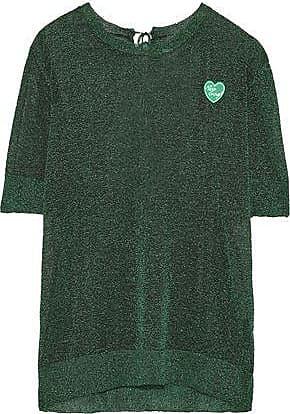 Zoe Karssen Zoe Karssen Woman Appliquéd Metallic Stretch-knit T-shirt Emerald Size M