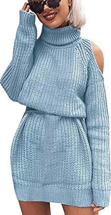 Damen Strickkleid Rollkragen Lang Winter Sweater Minikleid Longtop Tunika Pulli