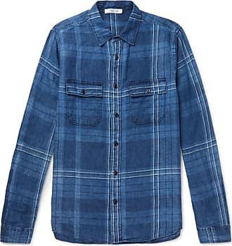 Frame Denim Checked Linen Shirt - Blue