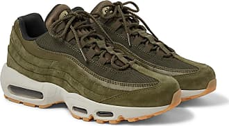 Nike Air Max 95 Se Mesh, Leather And Suede Sneakers - Army green