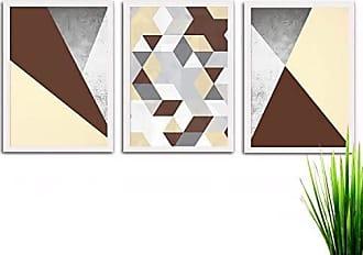 Los Quadros Kit de Quadros Decorativos 3 Peças Abstrato Los Quadros Branco