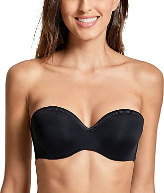 Delimira Womens Lightly Lined Underwire Lift Support Seamless Multiway Strapless Bra Black 34 DD