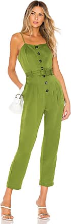 J.O.A. Strapless Belted Jumpsuit in Green