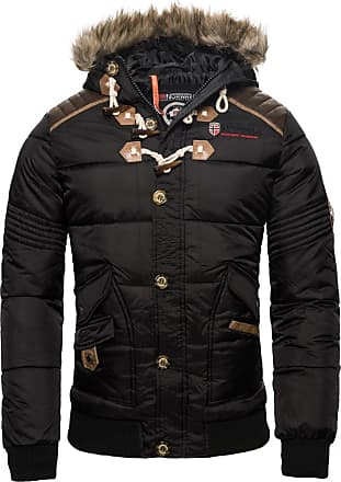 Geographical Norway Mens Winter Jacket Quilted Jacket Parka Belphegor Winter Jacket with Norway Neckerchief - Black - XX-Large