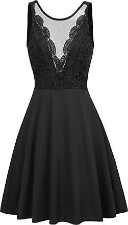 Grace Karin 50s Retro Party Prom Dress Rockabilly Crew Neck Lace Patchwork A-Line Vintage Event Swing Dress Black XXL