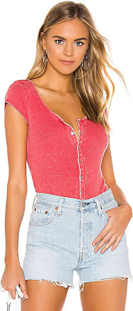 Chaser Short Sleeve Snap Front Henley Top in Red