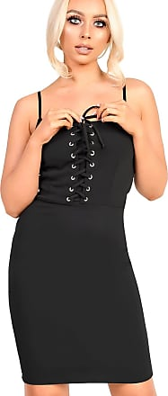 Ikrush Mirey Lace Up Bodycon Dress Black UK 8