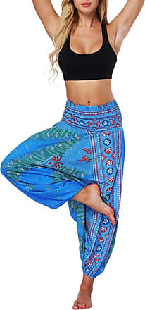 FNKDOR Fashion Style Women Casual Summer Dance Sport Charming Loose Yoga Trousers Baggy Boho Aladdin Jumpsuit Harem Pants Trousers(Blue,Free Size)