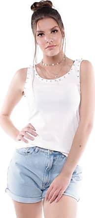 Pop Me Blusa Regata Decote Strass Pop Me-branco-p