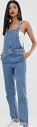 Asos Tall ASOS DESIGN Tall - Jeans-Latzhose in Stonewash-Blau